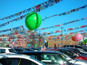 pennants streamers on car lot