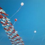 Jumbo balloons hung with pennants